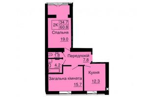 ЖК София Резиденс: планировка 2-комнатной квартиры 60.8 м²