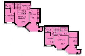 ЖК София Резиденс: планировка 3-комнатной квартиры 119 м²