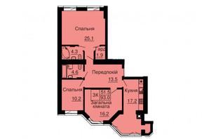 ЖК София Резиденс: планировка 3-комнатной квартиры 93 м²