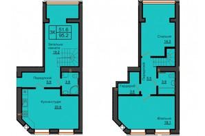 ЖК София Резиденс: планировка 4-комнатной квартиры 95.2 м²
