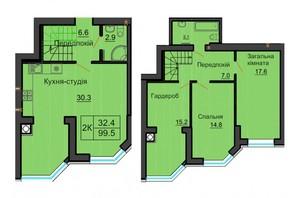 ЖК София Резиденс: планировка 4-комнатной квартиры 100 м²