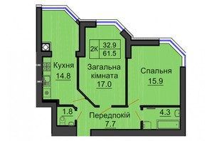 ЖК София Резиденс: планировка 2-комнатной квартиры 61.5 м²