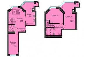 ЖК София Резиденс: планировка 4-комнатной квартиры 108 м²