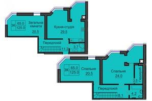 ЖК София Резиденс: планировка 3-комнатной квартиры 125 м²