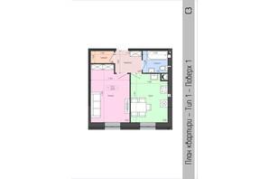 ЖК София: планировка 1-комнатной квартиры 36.5 м²