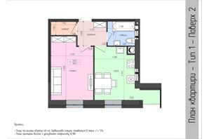 ЖК София: планировка 1-комнатной квартиры 38.41 м²