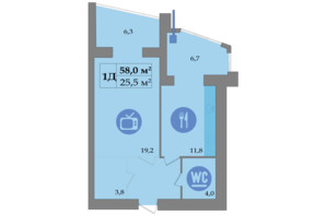 ЖК SokolovSky: планировка 1-комнатной квартиры 59.4 м²