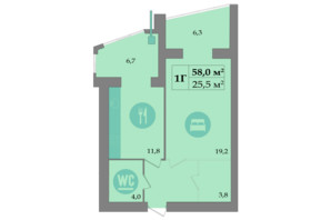 ЖК SokolovSky: планировка 1-комнатной квартиры 60.2 м²