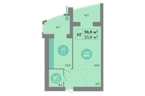 ЖК SokolovSky: планировка 1-комнатной квартиры 60.8 м²