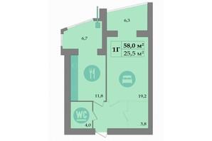 ЖК SokolovSky: планування 1-кімнатної квартири 58 м²