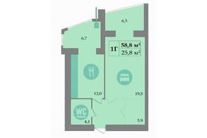 ЖК SokolovSky: планування 1-кімнатної квартири 58.8 м²