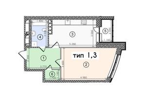 ЖК «Солнечная Ривьера»: планировка 1-комнатной квартиры 54.7 м²