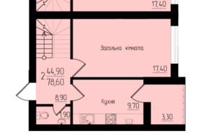 ЖК Солнечный: планировка 3-комнатной квартиры 78.6 м²