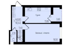 ЖК Солнечный: планировка 3-комнатной квартиры 90.4 м²