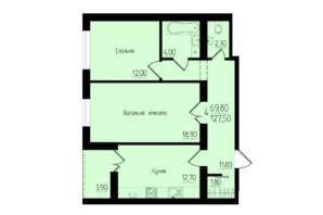 ЖК Солнечный: планировка 4-комнатной квартиры 127.5 м²