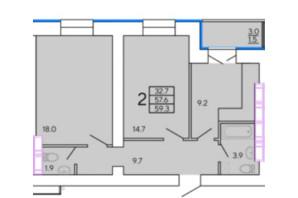 ЖК Солнечный квартал 4: планировка 2-комнатной квартиры 60.06 м²