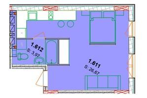 ЖК Солнечный квартал: планировка 1-комнатной квартиры 33.34 м²
