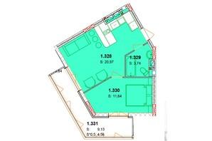 ЖК Солнечный квартал: планировка 1-комнатной квартиры 45.48 м²
