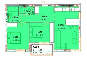 ЖК Солнечный квартал: планировка 2-комнатной квартиры 62.41 м²