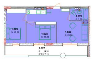 ЖК Солнечный квартал: планировка 2-комнатной квартиры 64.49 м²