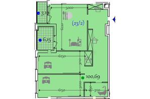 ЖК Сomfort City: планировка 2-комнатной квартиры 100.69 м²