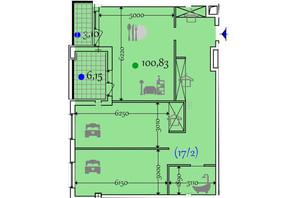 ЖК Сomfort City: планировка 2-комнатной квартиры 100.83 м²