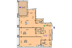 ЖК Сomfort City: планировка 2-комнатной квартиры 108.43 м²