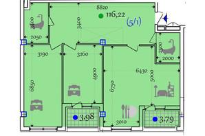 ЖК Сomfort City: планировка 2-комнатной квартиры 116.22 м²
