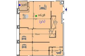 ЖК Сomfort City: планировка 2-комнатной квартиры 116.38 м²