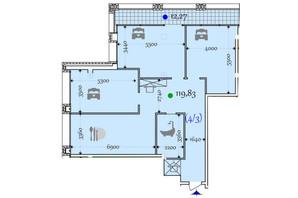 ЖК Сomfort City: планировка 2-комнатной квартиры 119.83 м²