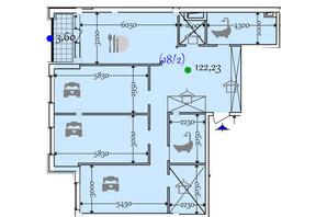 ЖК Сomfort City: планировка 2-комнатной квартиры 122.23 м²