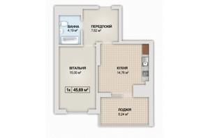 ЖК Sonata: планування 1-кімнатної квартири 45.69 м²