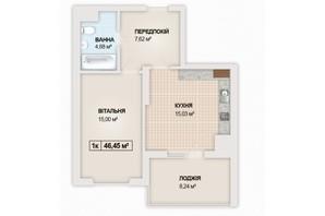 ЖК Sonata: планування 1-кімнатної квартири 46.45 м²
