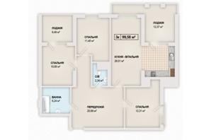 ЖК Sonata: планування 3-кімнатної квартири 99.58 м²