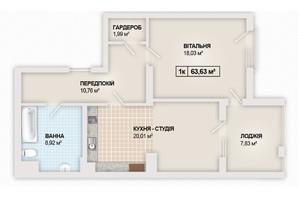 ЖК Sonata: планування 1-кімнатної квартири 63.63 м²