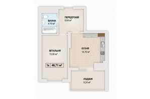 ЖК Sonata: планування 1-кімнатної квартири 46.71 м²