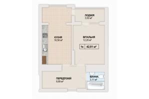 ЖК Sonata: планування 1-кімнатної квартири 42.51 м²