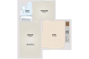 ЖК Sonata: планировка 1-комнатной квартиры 43.35 м²