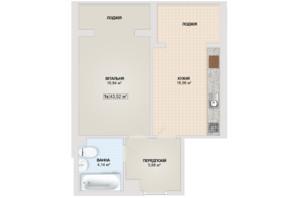 ЖК Sonata: планировка 1-комнатной квартиры 43.52 м²