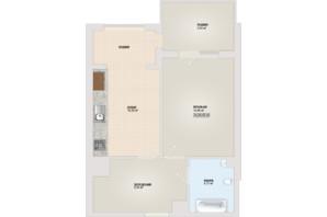 ЖК Sonata: планировка 1-комнатной квартиры 46.6 м²
