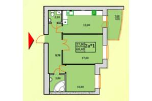 ЖК Сонячна Оселя: планування 2-кімнатної квартири 60.2 м²