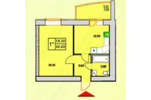 ЖК Сонячна Оселя: планування 1-кімнатної квартири 40 м²
