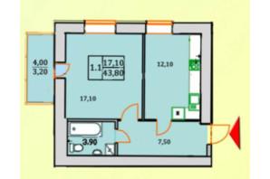ЖК Сонячна Оселя: планування 1-кімнатної квартири 43.8 м²
