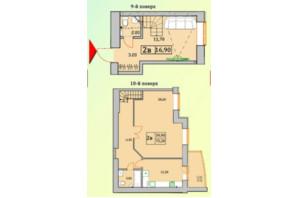 ЖК Сонячна Оселя: планування 2-кімнатної квартири 75.2 м²