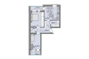 ЖК Сонячні пагорби: планировка 2-комнатной квартиры 56.92 м²
