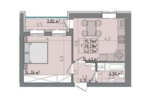 ЖК Сонячні пагорби: планировка 1-комнатной квартиры 42.13 м²