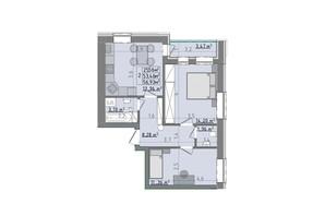 ЖК Сонячні пагорби: планировка 2-комнатной квартиры 56.93 м²