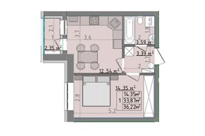 ЖК Сонячні пагорби: планировка 1-комнатной квартиры 36.22 м²