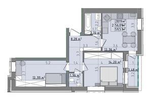 ЖК Сонячні пагорби: планировка 2-комнатной квартиры 59.57 м²