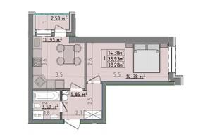 ЖК Сонячні пагорби: планировка 1-комнатной квартиры 38.28 м²